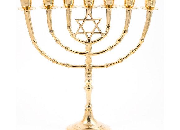 "7 Branch Menorah Star of David - Gold Coloured Brass 11"""