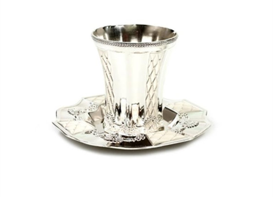 Silver plated Kiddush Cup and Tray