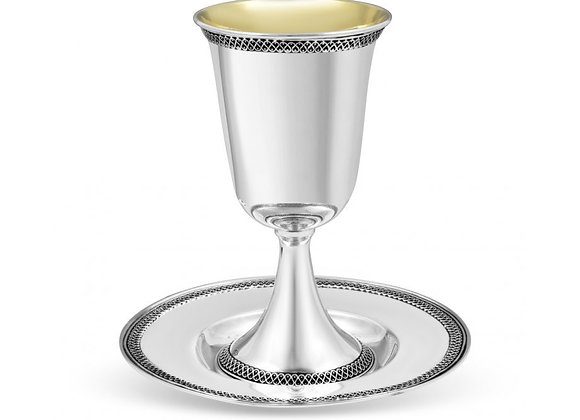 Sterling Silver Shabbat Kiddush Goblet with Plate - Loop Ribbon Design