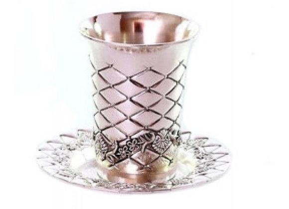 Diamond design Kiddush Cup and Plate Set