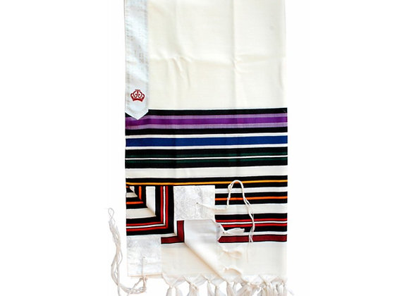 Talitnia Beney Or Tallit - Sons of Light Modern Wool Prayer Shawl - Rainbow