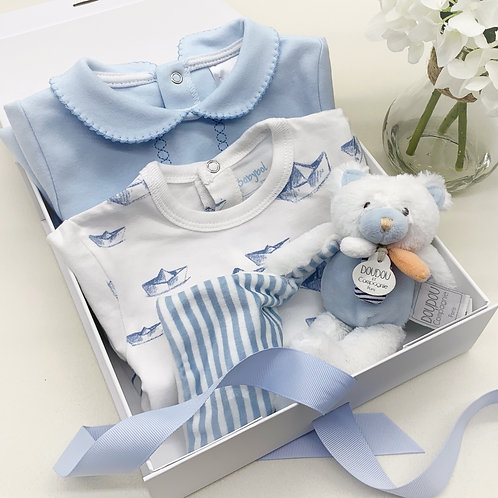 Boys Twin Sleepsuit and Soft Toy Set