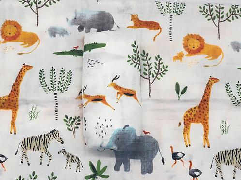 Safari Print Bamboo Swaddle
