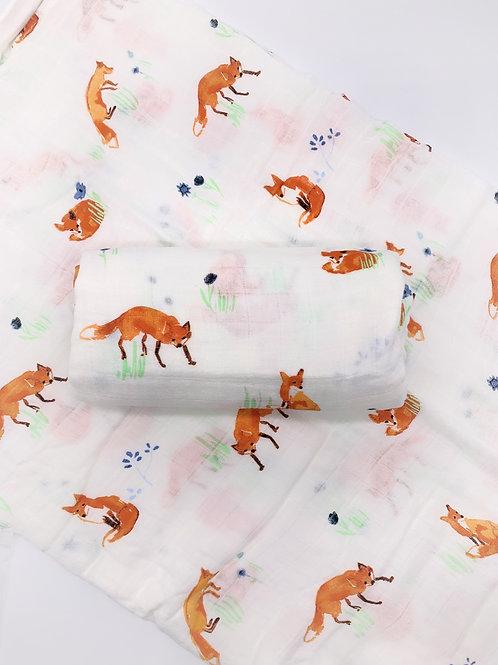 Fox Print Bamboo Swaddle