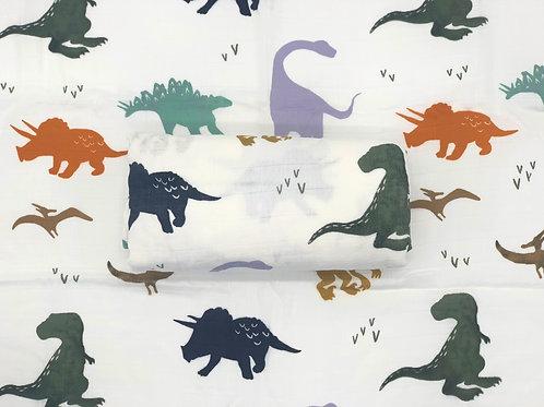 Dinosaur Print Bamboo Swaddle