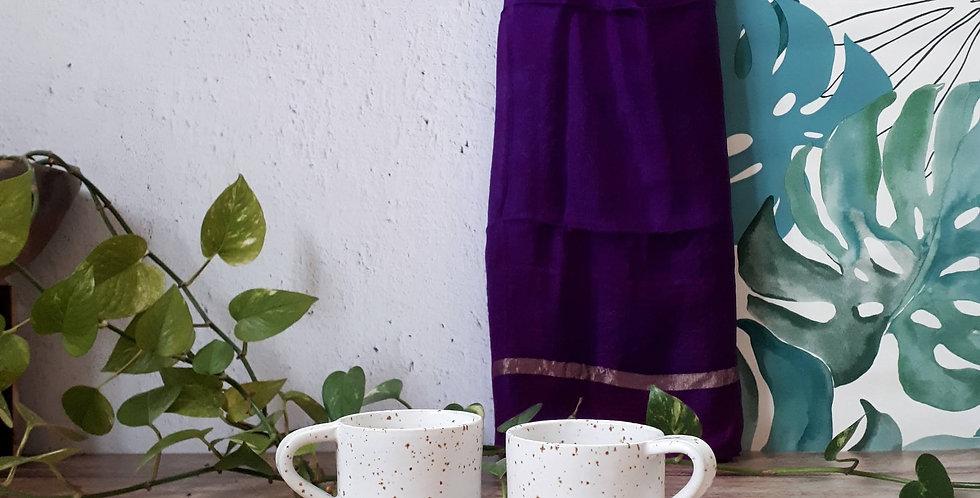 TASSE A CAFE | grès à pyrites et émail blanc pur