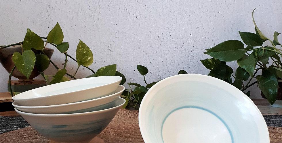 BOL COUPELLE   porcelaine et engobe turquoise