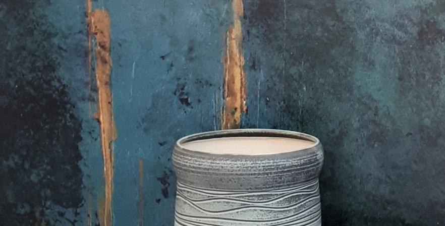CACHE POT 4 | grès BLANC - émail gris-vert et blanc pur