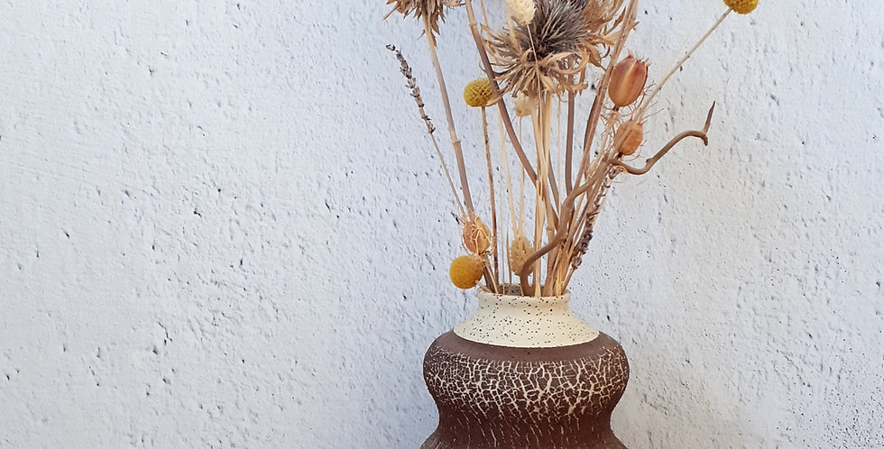VASE | grès à pyrites et engobe de grès rouge