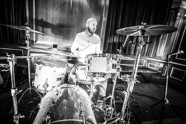 Image of drummer Matt Baker at drum kit.