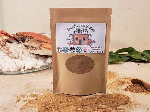 Sazonador para arroz y pescado empaque ecológico