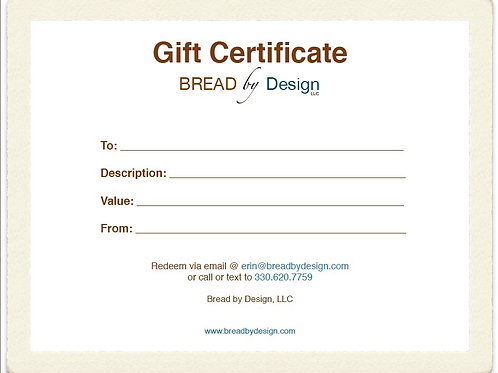 Bread by Design gift certificate