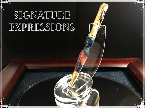 Triple Dyed Maple Burl Hourglass Pen