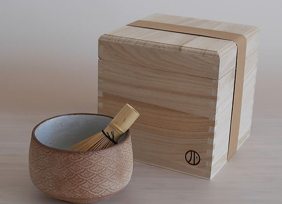 Wood Fired Chawan tea bowl with whisk and presentation box