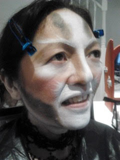 Working on Grizabella, (the musical Cats). Make-up for an Ice-Skating Awards Ceremony in London