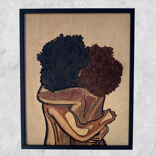 Sweet Embrace Original Wooden Wall Art - Portrait of Love