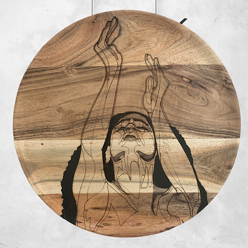 Stretch my Hands to Thee - Wooden Wall Art - Portrait of a Woman Giving Praise