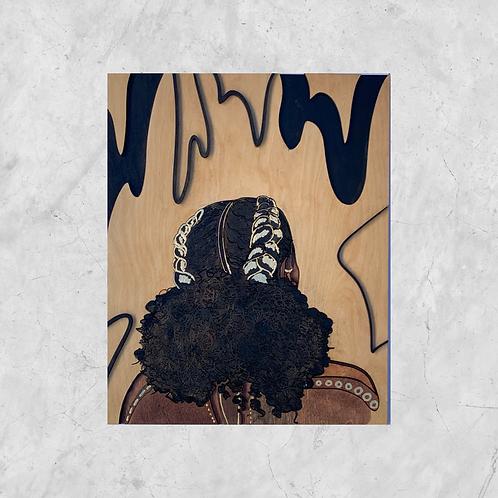 Low Puff Original Wooden Wall Art - Portrait of Black Beauty