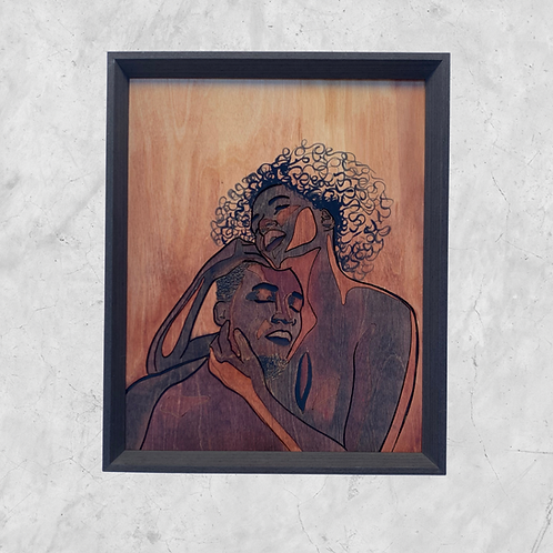 Hold Me - Original Wooden Wall Art - Portrait of an African American Couple