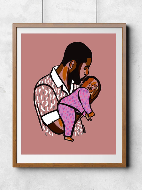 Girl Dad - Portrait of an African American Father and Daughter