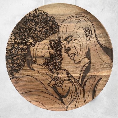 Family - Wooden Wall Art - Portrait of Love