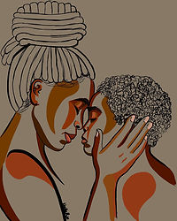 Black Mother Art | Black Mother and Son | Head to Head I Love You