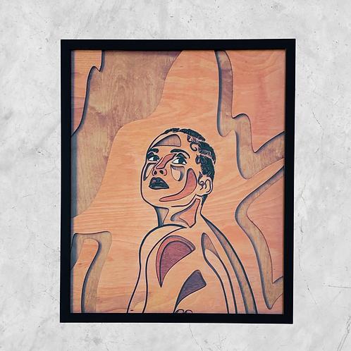 Alicia Original Wooden Wall Art - Portrait of Black Beauty