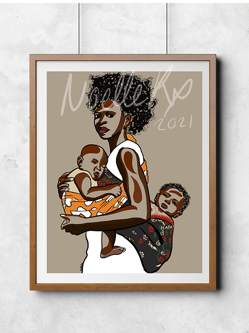 Double the Love -Portrait of a Black Mother with Twins