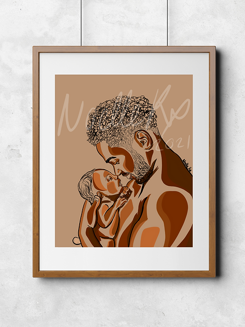 Daddy's Baby II- Portrait of a Black Father and Newborn Baby