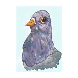 Pigeon portrait in gouache