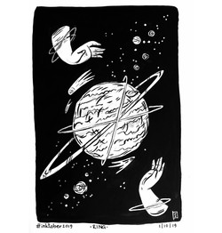 Planet Holders ink illustration