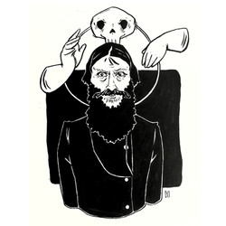 Gregory Rasputin ink illustration
