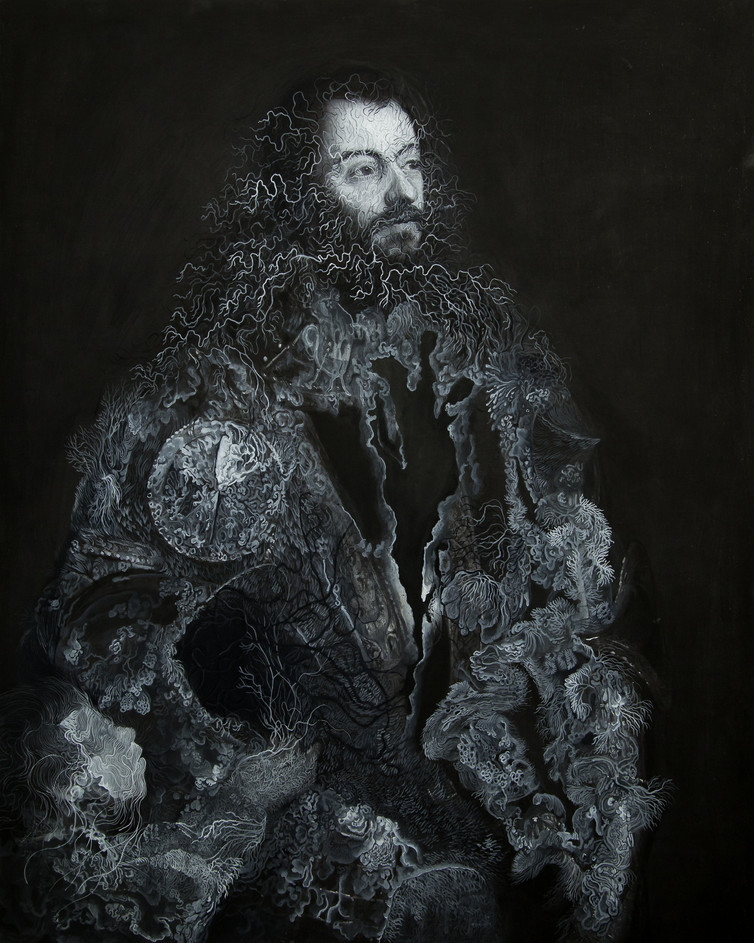 Cristallisation ( Portrait d'Alfonso d'Avalos,Marchese del Vasto, en armure avec un page)