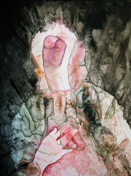 Résonance Noire et rose (portrait d'un jeune homme)