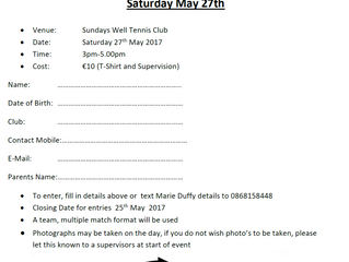 Juniors: Munster Junior Circuit Calendar U12/U14 Club Players Event - May 27th