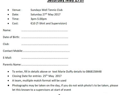 Juniors: Munster Junior Circuit Calendar U12/U14 Club Players Event - May 27th