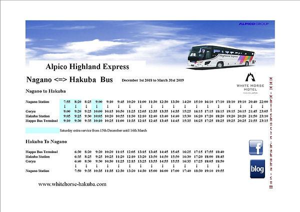 Nagano to Hakuba bus timetable 2018 - 20
