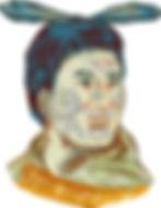 illustration of Maori chief warrior chie