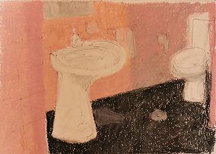 bathroom oil pastel drawing