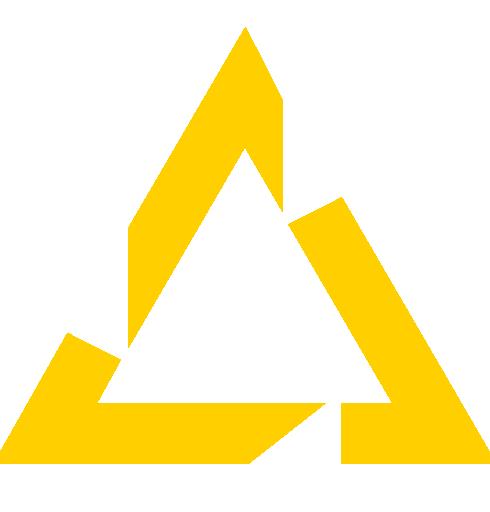 A yellow triangle, the PSQ logo symbol