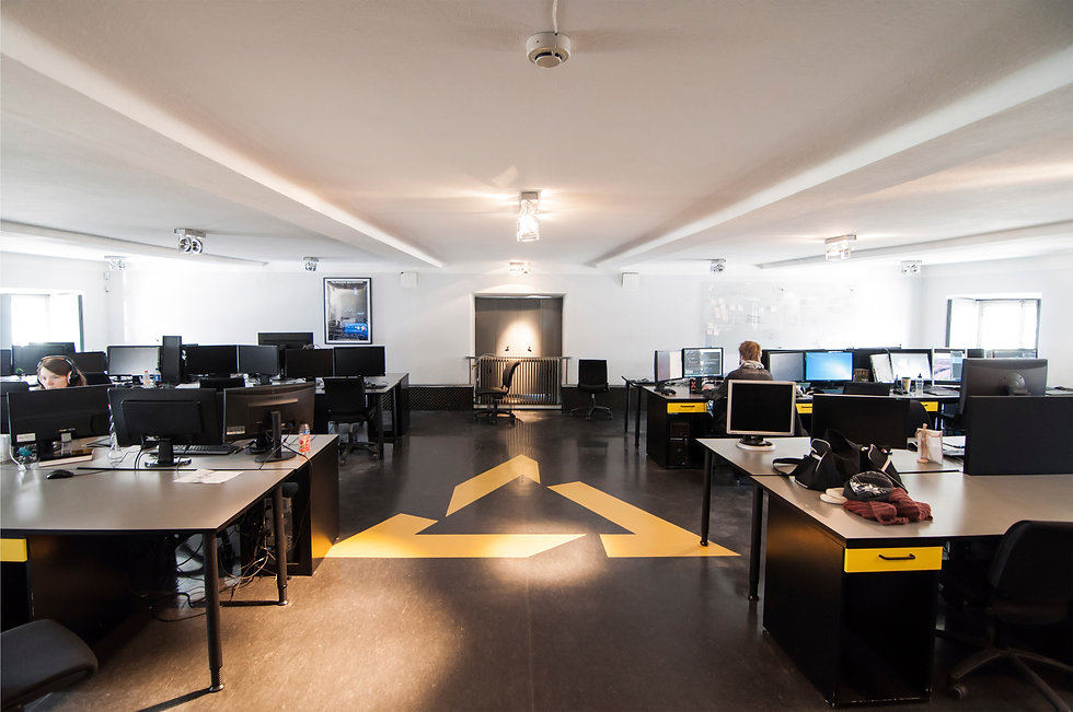 The computer halls with the students desks