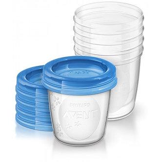 Avent - Contenedor dispensador de leche 180 ml x5 unid. Azul