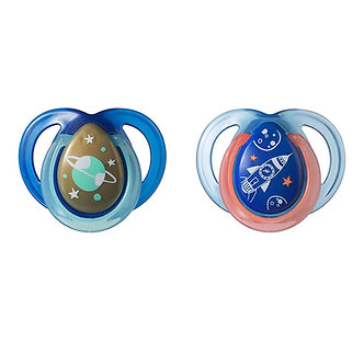 Tommee Tippee - Set de 2 chupones Night Time 0 a 6 m Azul/Celeste