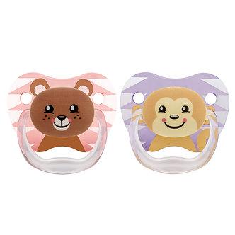 Dr. Brown's - Set de 2 chupones PreVent de 6 a 12 meses Oso y Mono Niña