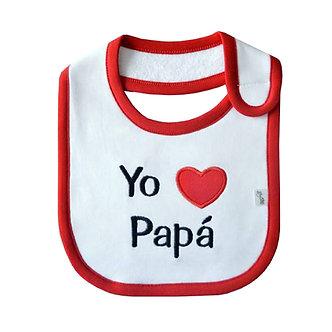 Piccole Cose - Babero - Yo Amo a Papá (Blanco y Rojo)