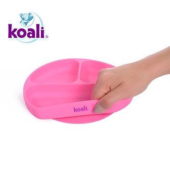 Koali - Plato de Silicona con Divisiones y Succión - Rosado