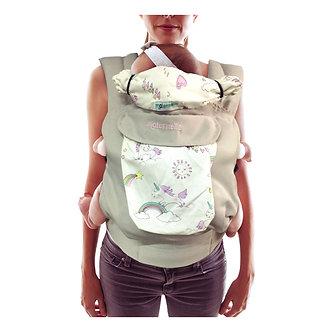 Maternelle - Canguro Ergonómico 4 en 1 - Plomo con Diseño Unicornio 4m+
