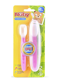 Nuby - Cuchara de Silicona Con Cajita