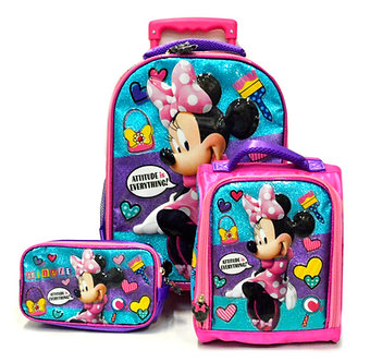 Scool - Set Escolar Minnie Mouse Tela Mal+Lonch+Cart (Oficio)