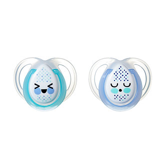 Tommee Tippee - Set de 2 chupones Night Time 0 a 6 meses Azul (Brillan)